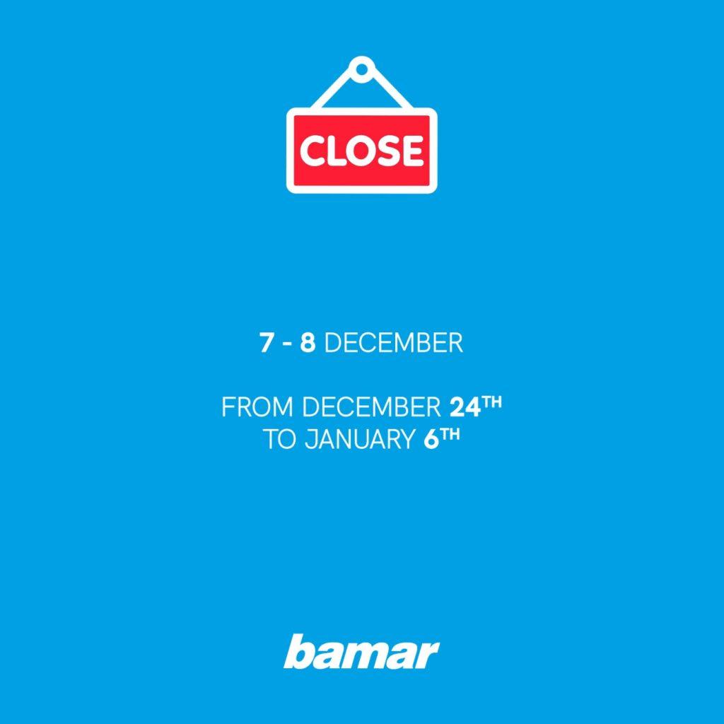 Bamar Chiusura Dicembre